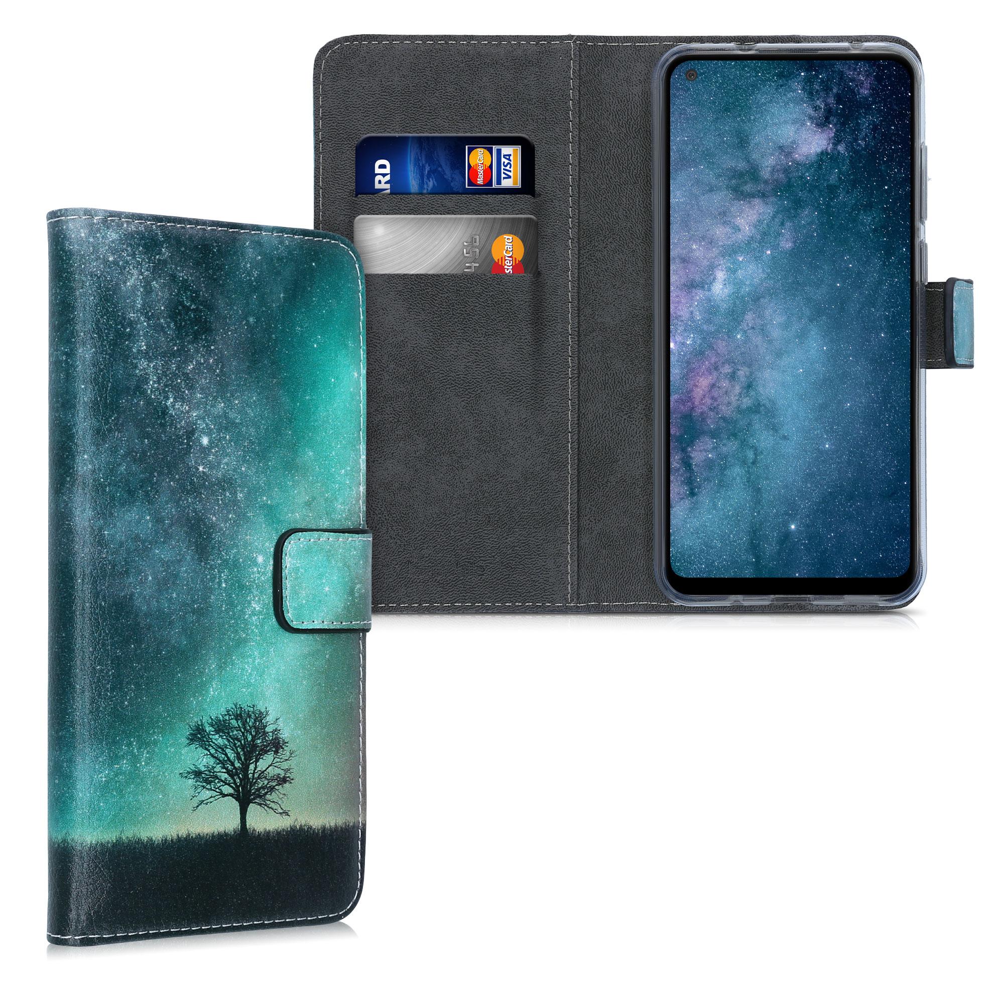Kožené pouzdro pro Samsung A11 - kosmické přírodní modré / šedé / černé