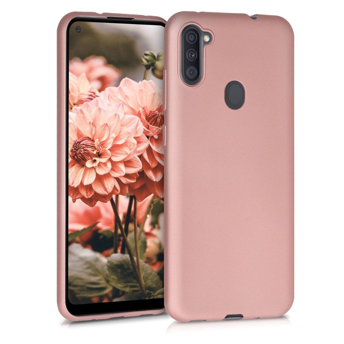 Kvalitní silikonové TPU pouzdro pro Samsung A11 - Metallic Rose Gold