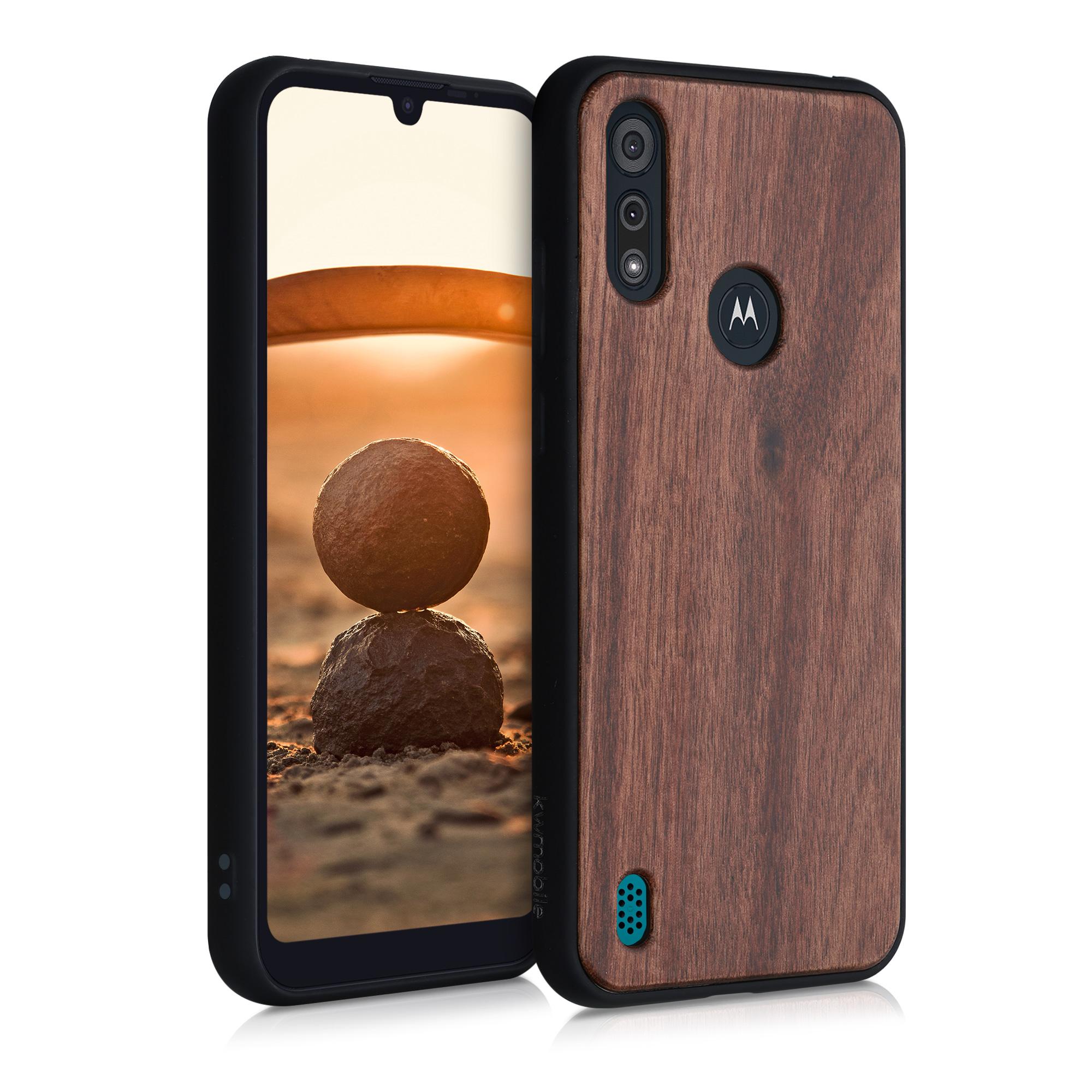 Dřevěné pouzdro | obal pro Motorola Moto E6s - Tmavě hnědá