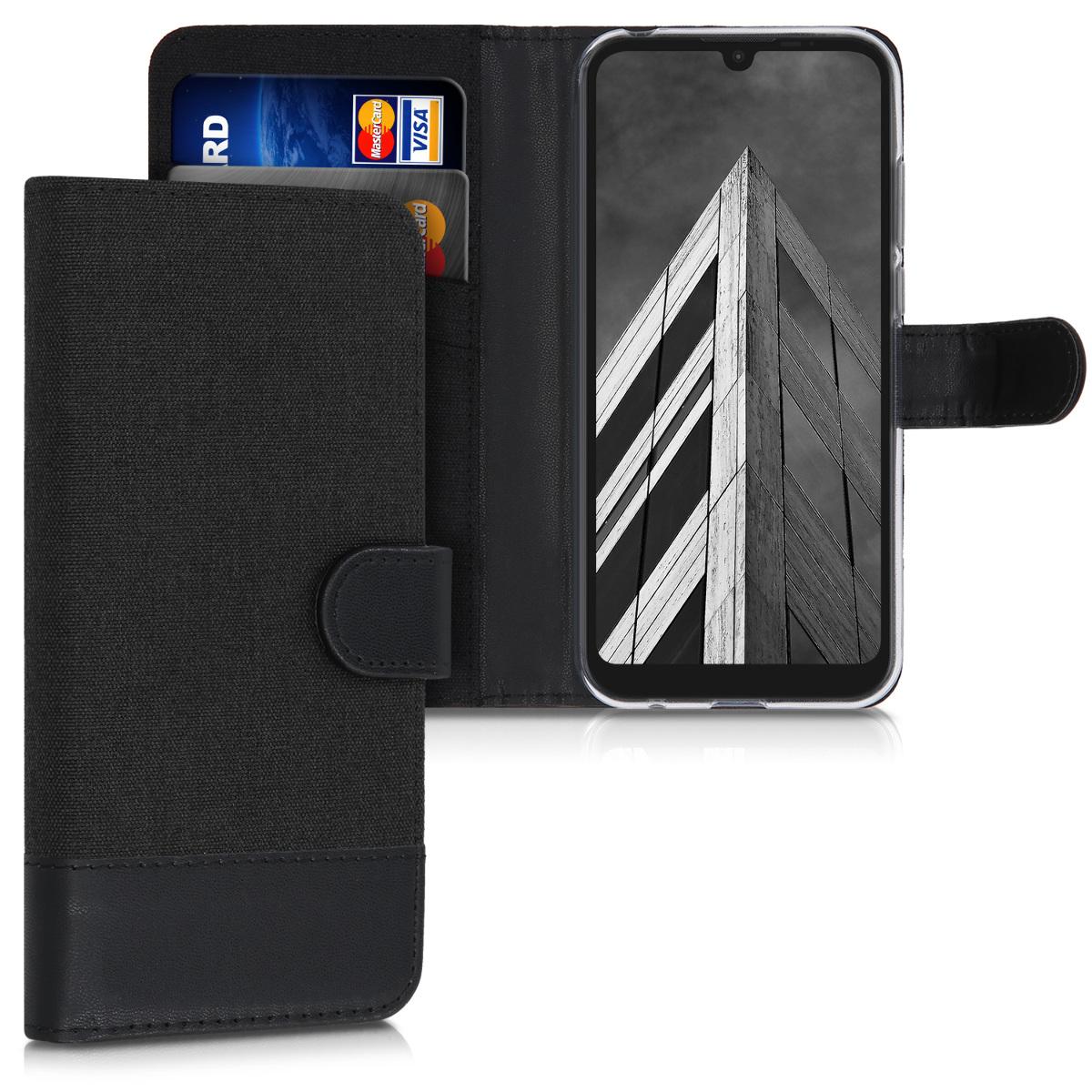 Textilní látkové pouzdro | obal pro Motorola Moto E6s - Antracit / černá