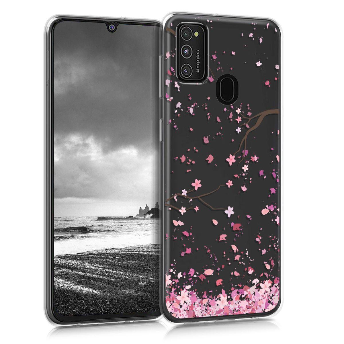 Kvalitní silikonové TPU pouzdro pro Samsung M21 - Cherry Blossoms růžové / tmavě hnědá / transparentní