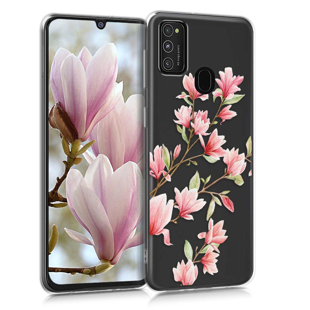 Kvalitní silikonové TPU pouzdro pro Samsung M21 - Magnolie růžové / bílé / transparentní