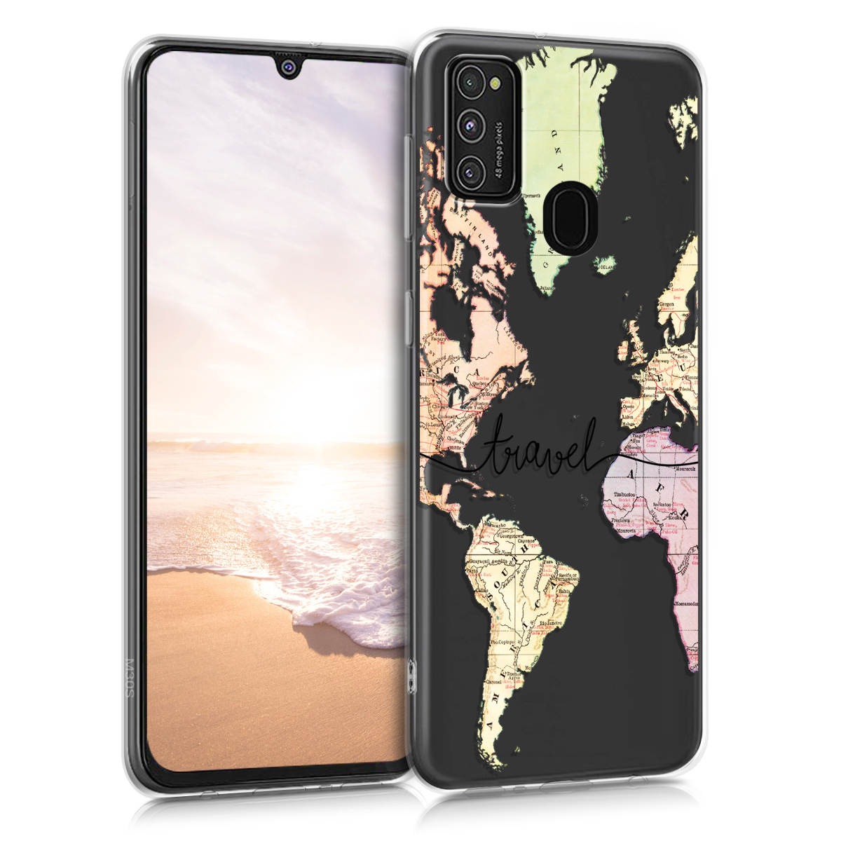 Kvalitní silikonové TPU pouzdro pro Samsung M21 - Travel černé / Multicolor / transparentní