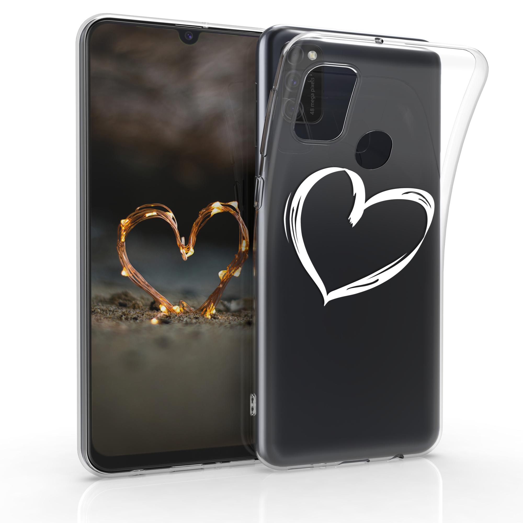 Kvalitní silikonové TPU pouzdro pro Samsung M21 - Brushed Heart bílé / transparentní
