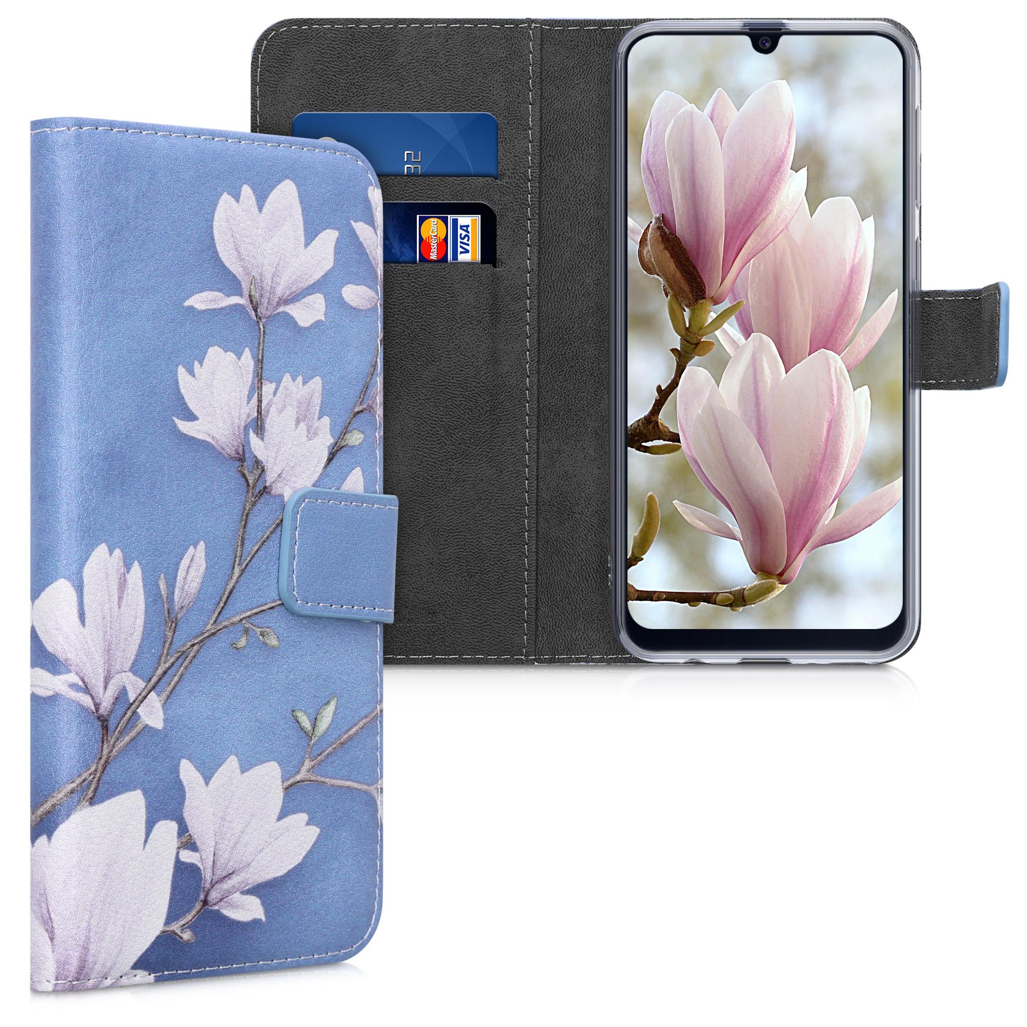 AKCE IHNED! Kožené pouzdro pro Samsung M21 - Magnolie Taupe / bílá / modrá šedá