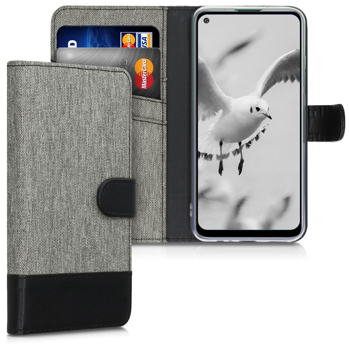 Šedé textilní pouzdro / obal jako peněženka pro Huawei P40 Lite E