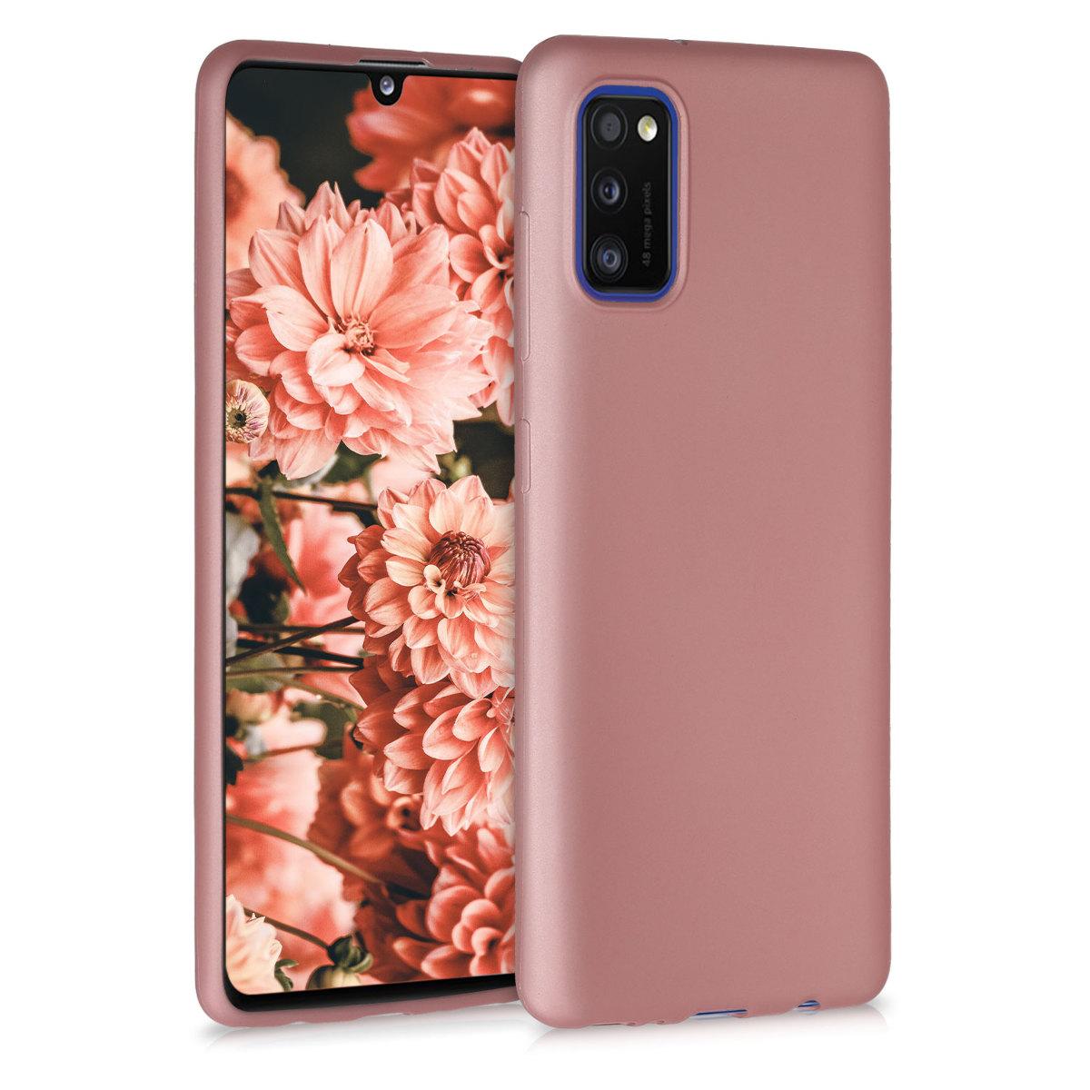 Kvalitní silikonové TPU pouzdro pro Samsung A41 - metalické starorůžové rosegold