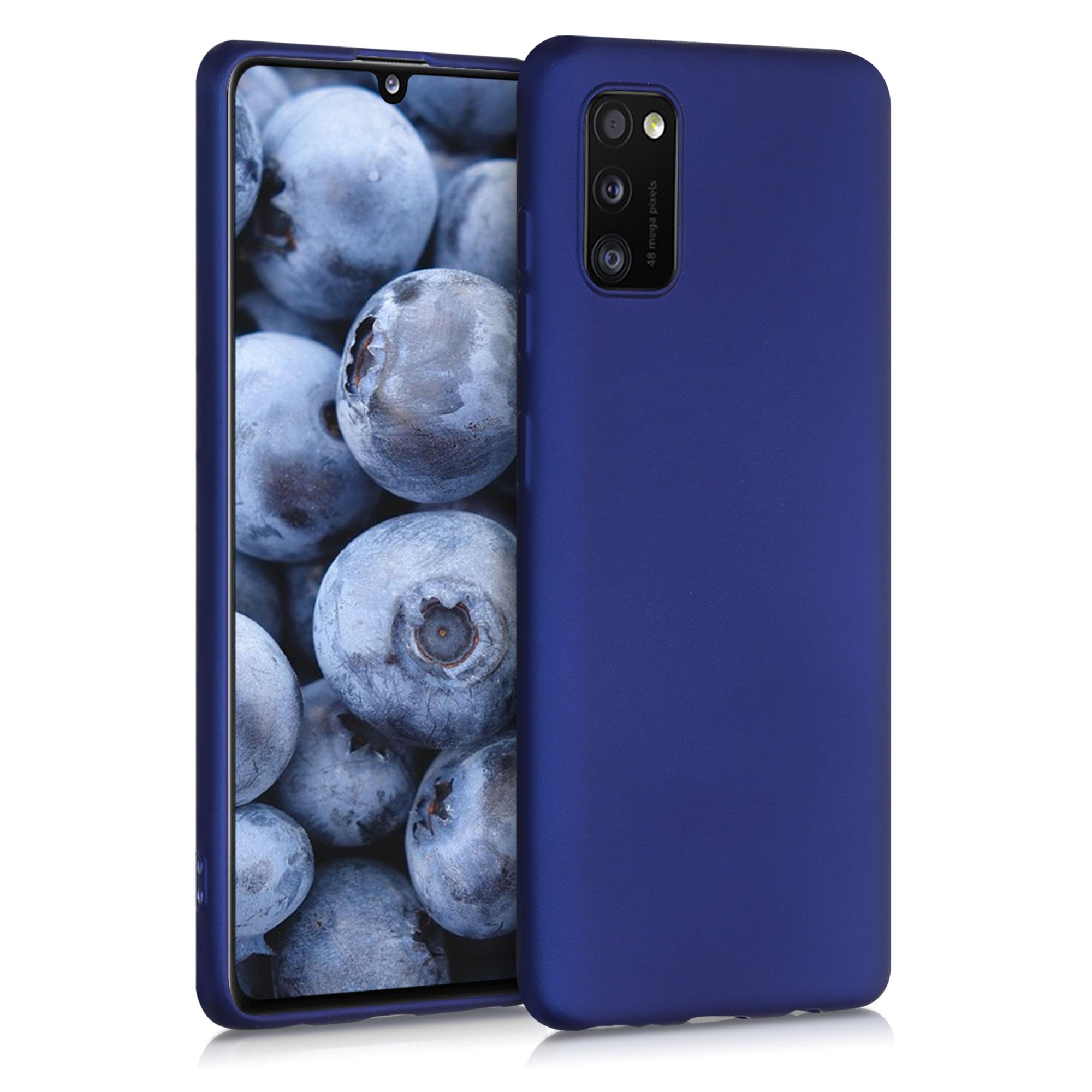 Kvalitní silikonové TPU pouzdro pro Samsung A41 - modrá metalíza