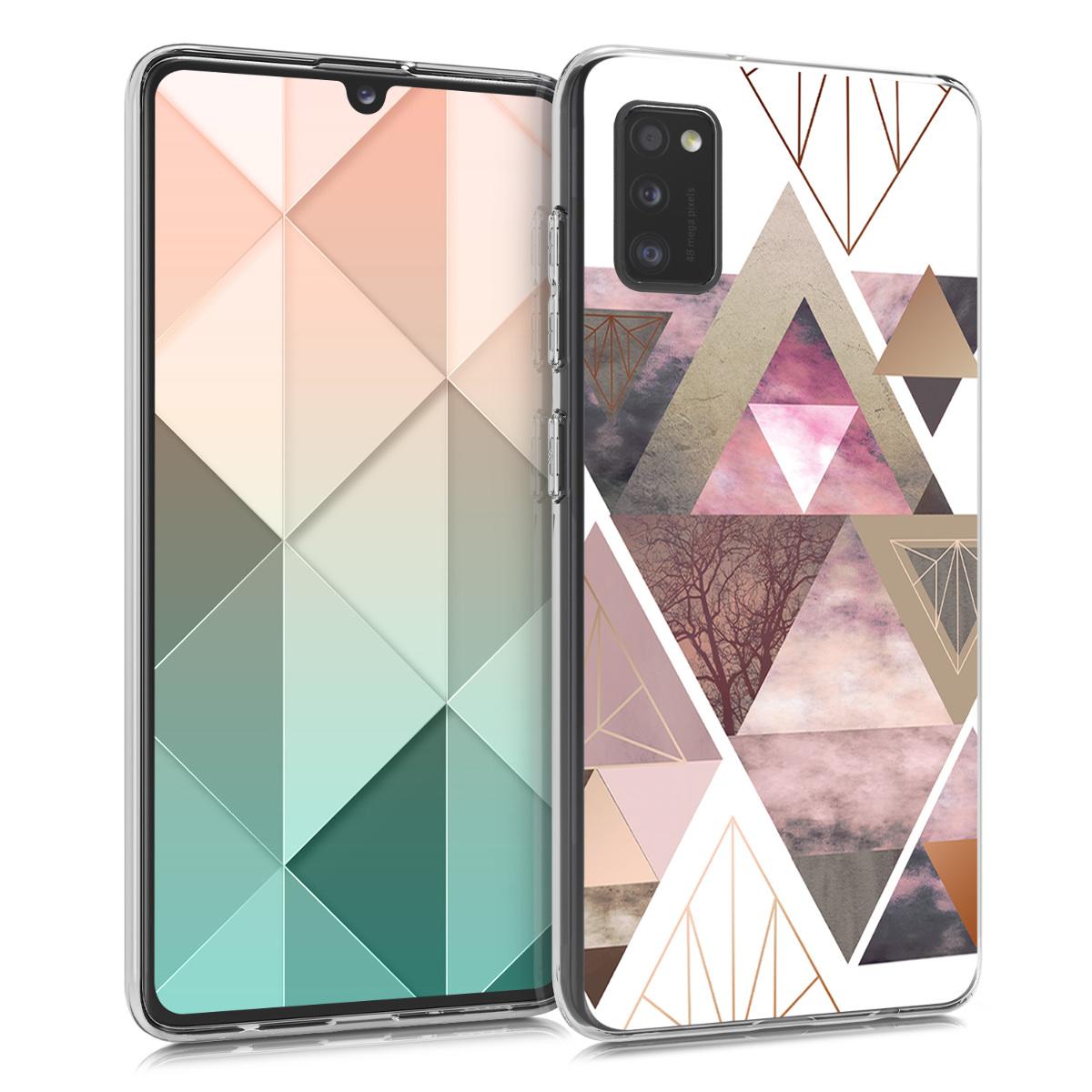 Kvalitní silikonové TPU pouzdro pro Samsung A41 - Patchwork trojúhelníky Light Pink / Rose Gold / White