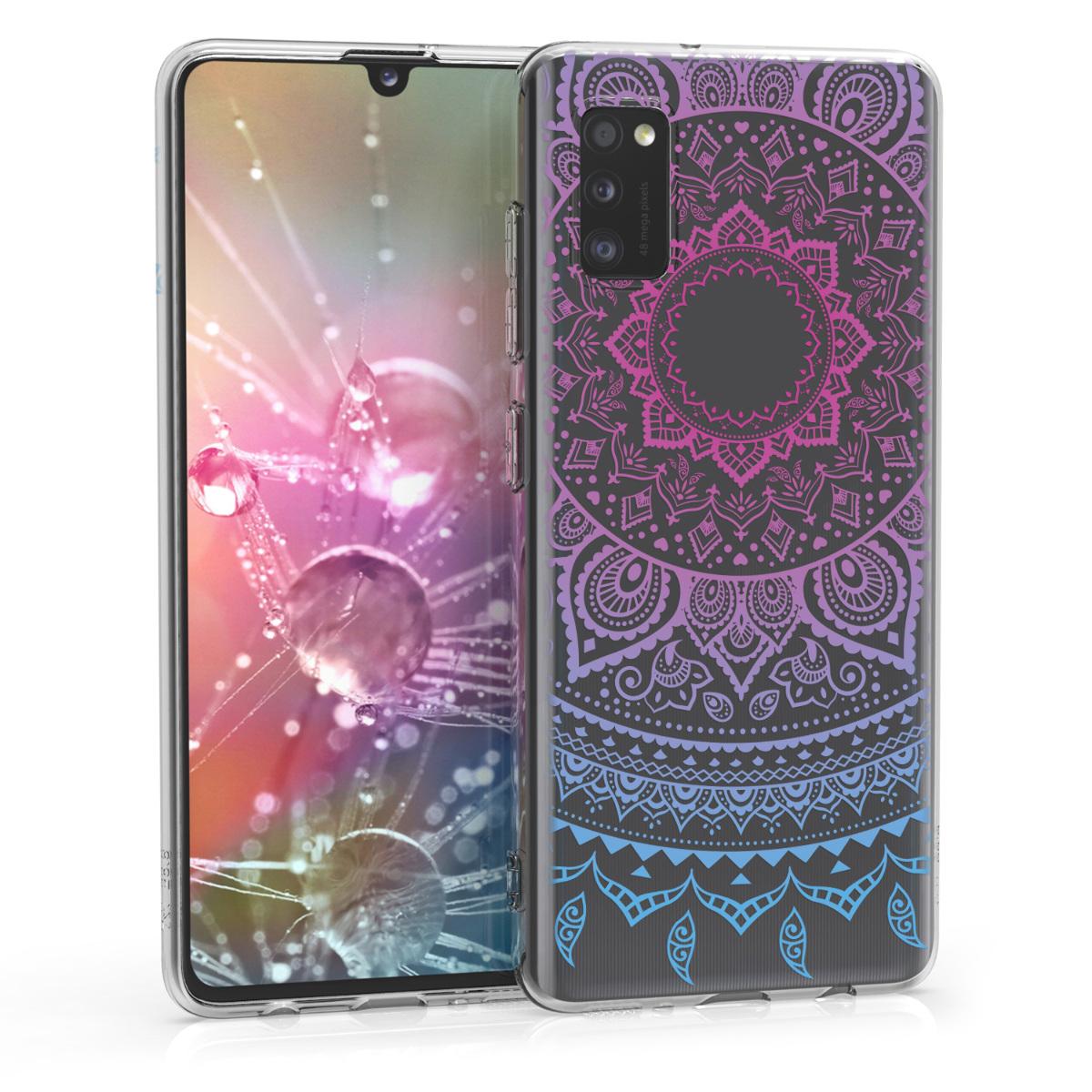 Kvalitní silikonové TPU pouzdro pro Samsung A41 - Indické Sun Modrá / tmavě růžová / Transparent