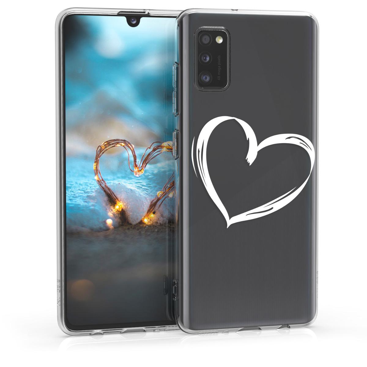 Kvalitní silikonové TPU pouzdro pro Samsung A41 - Brushed Heart White / Transparent