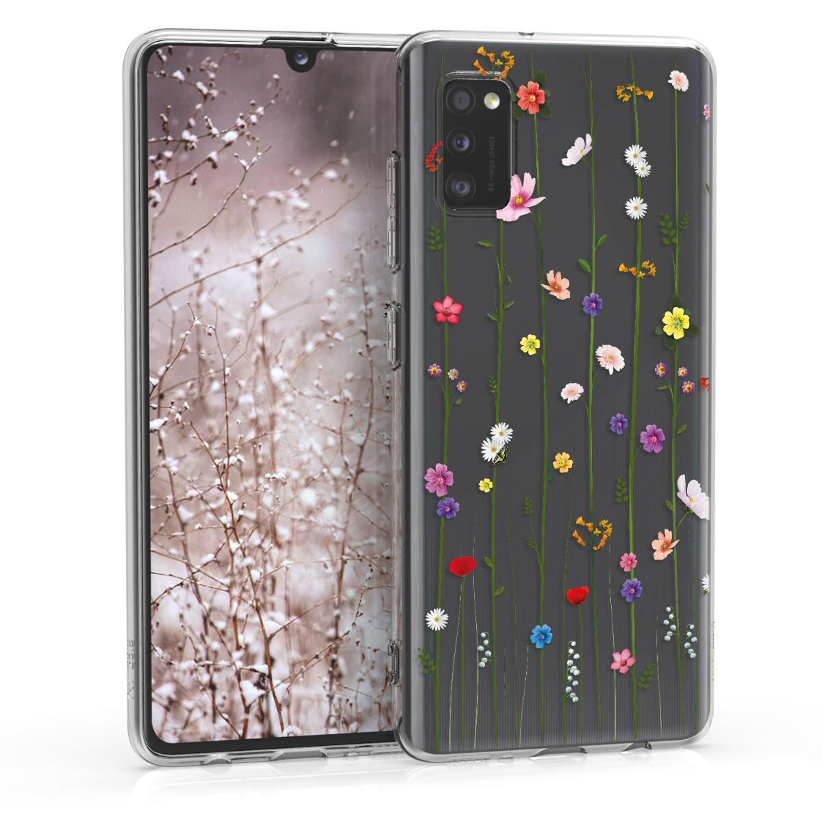 Kvalitní silikonové TPU pouzdro pro Samsung A41 - divoké květy Vines Multicolor / transparentní