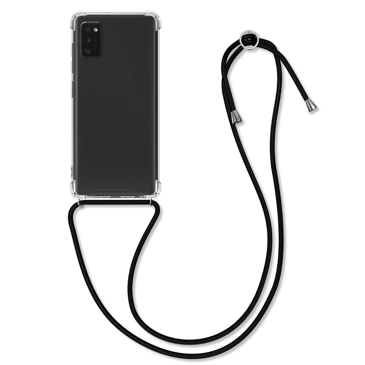 Kvalitní silikonové TPU pouzdro pro Samsung A41 - černé / transparentní