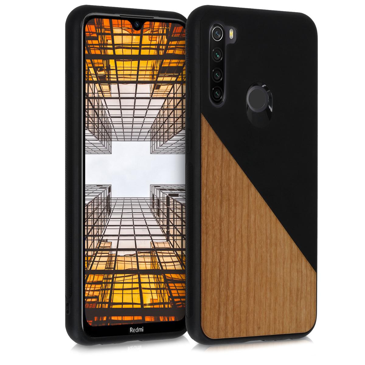 Dřevěné pouzdro | obal pro Xiaomi Redmi Note 8T - Two-Tone dřevěný černý / hnědý
