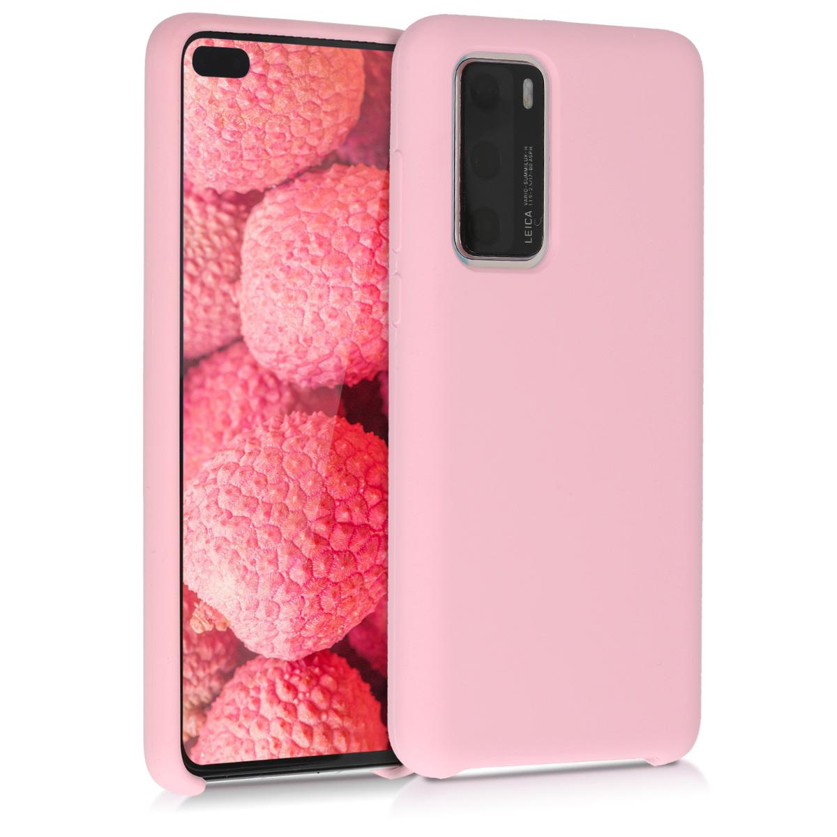 Matné růžové silikonové pouzdro / obal pro Huawei P40