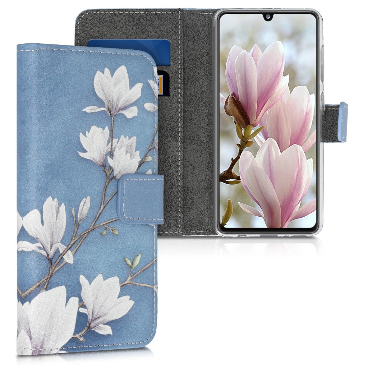 Kožené pouzdro pro Samsung A41 - Magnolie Taupe / bílá / modré šedé