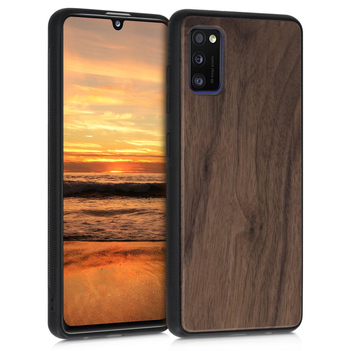 Dřevěné pouzdro pro Samsung A41 - Tmavě hnědá