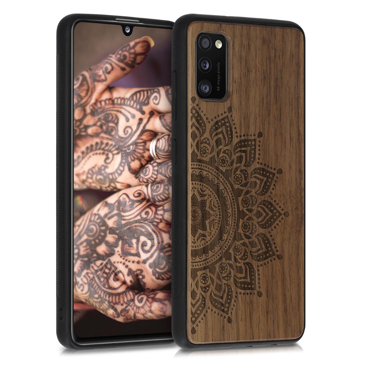 Dřevěné pouzdro pro Samsung A41 - Vycházející slunce tmavě hnědá
