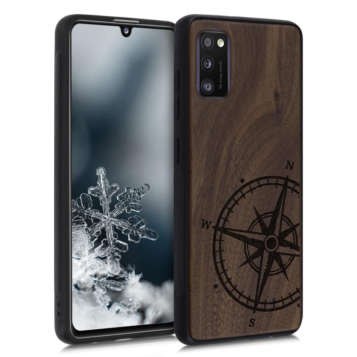 Dřevěné pouzdro pro Samsung A41 - Navigační Compass Dark Brown