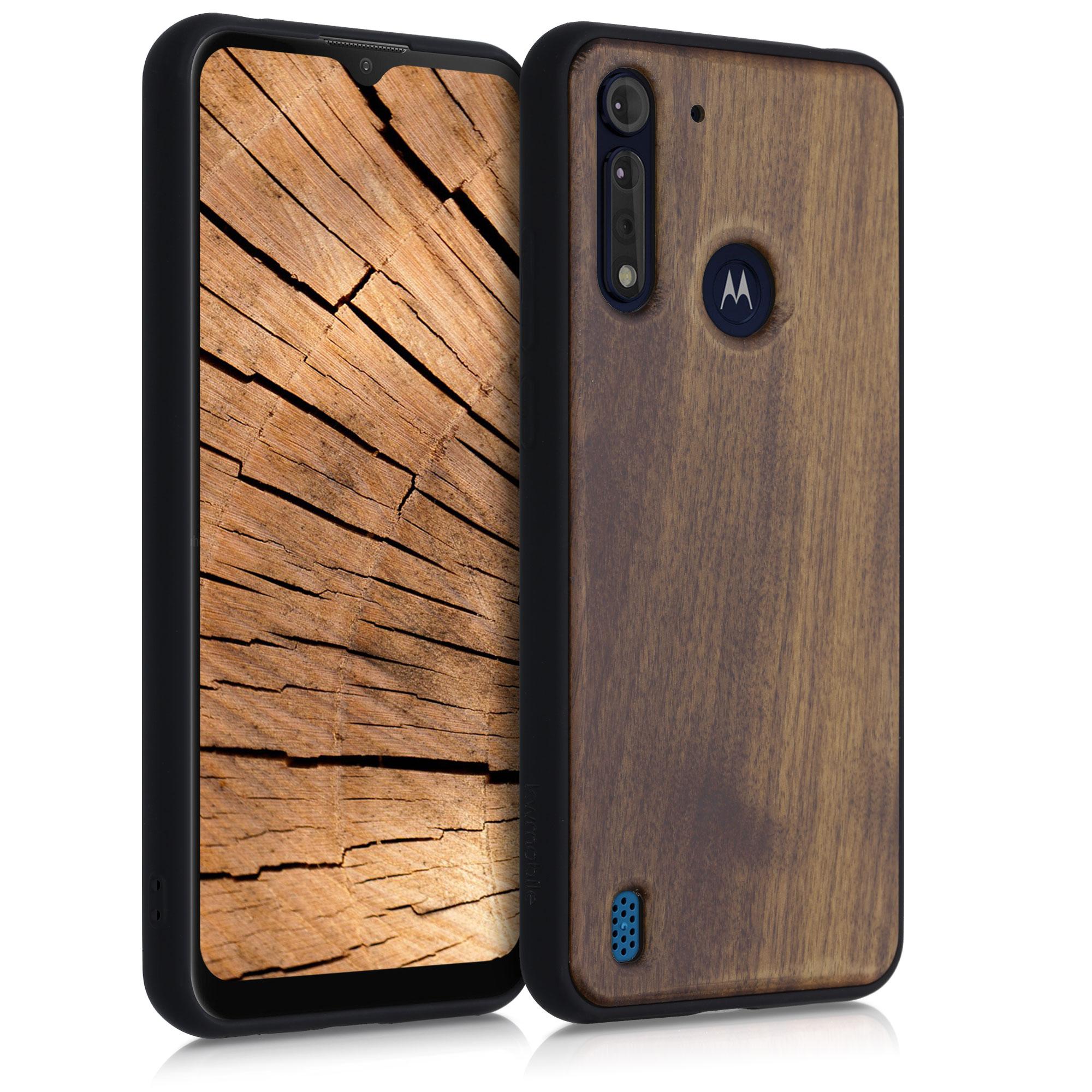 Dřevěné pouzdro   obal pro Motorola Moto G8 Power Lite - Tmavě hnědá