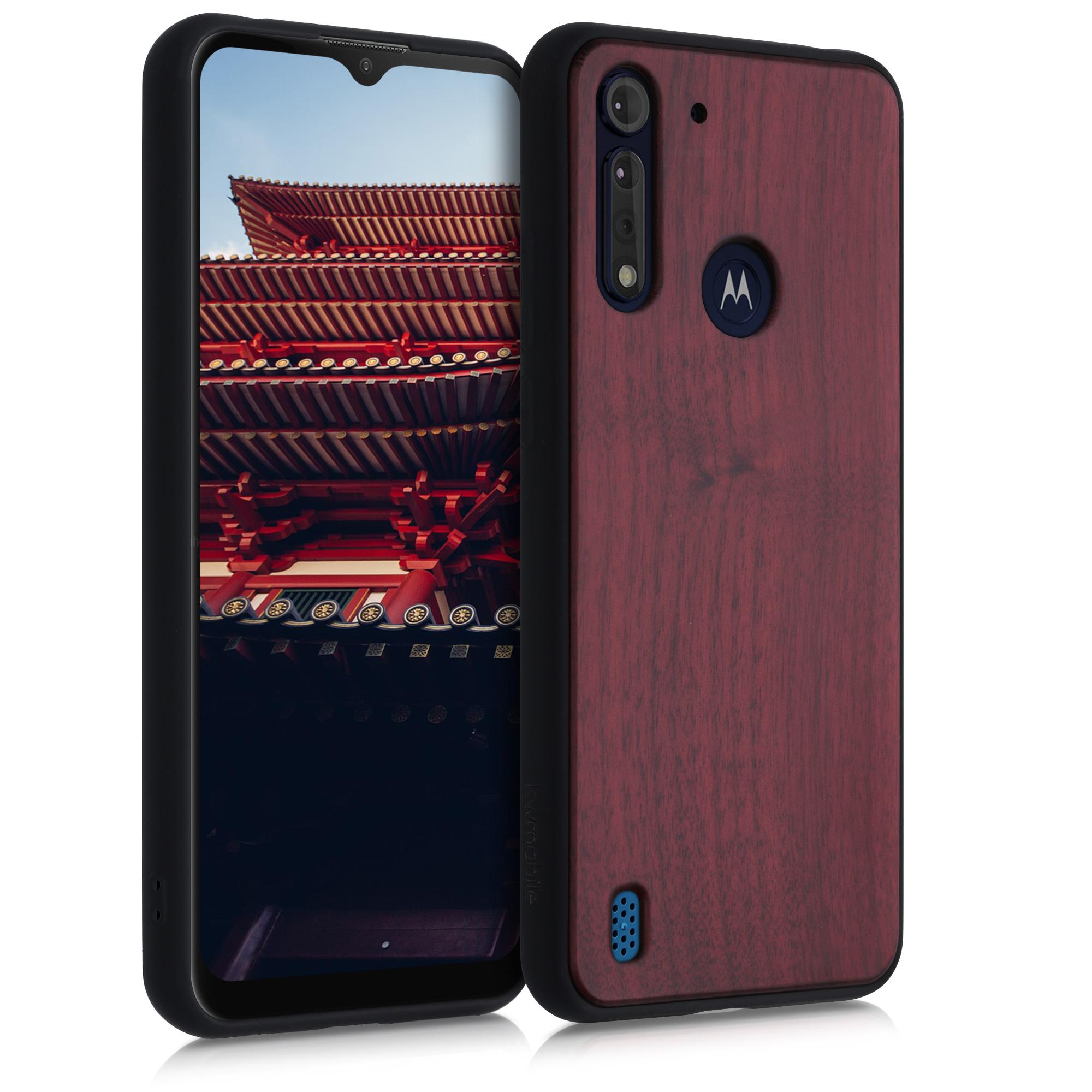 Dřevěné pouzdro   obal pro Motorola Moto G8 Power Lite - Tmavě červená