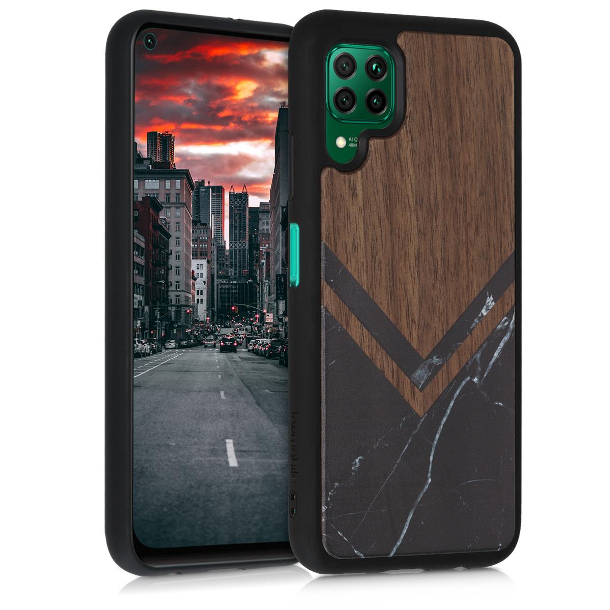 Dřevěné pouzdro / obal pro Huawei P40 Lite s motivem mramoru