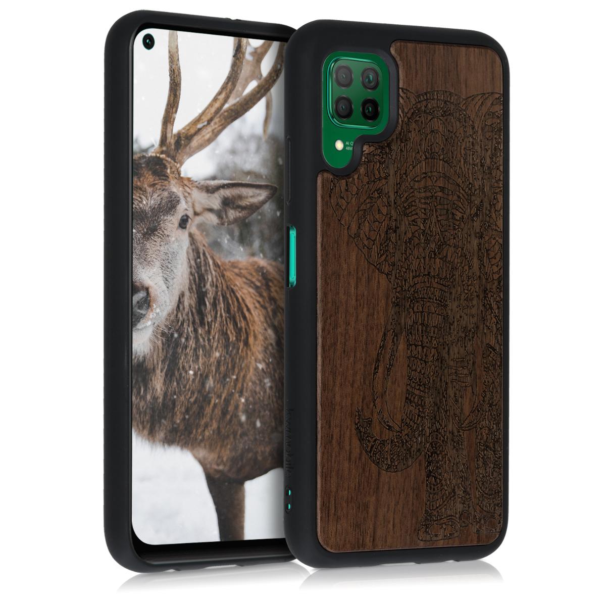Dřevěné hnědé pouzdro / obal pro Huawei P40 Lite s motivem slona