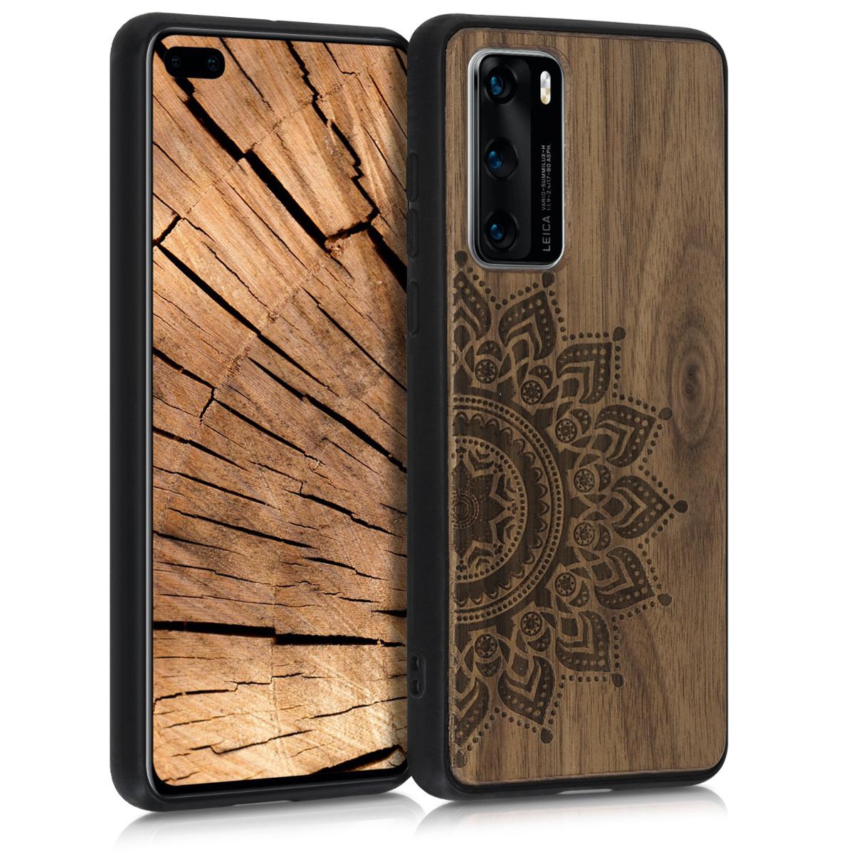 Dřevěné pouzdro / obal s motivem vycházejícího slunce pro Huawei P40