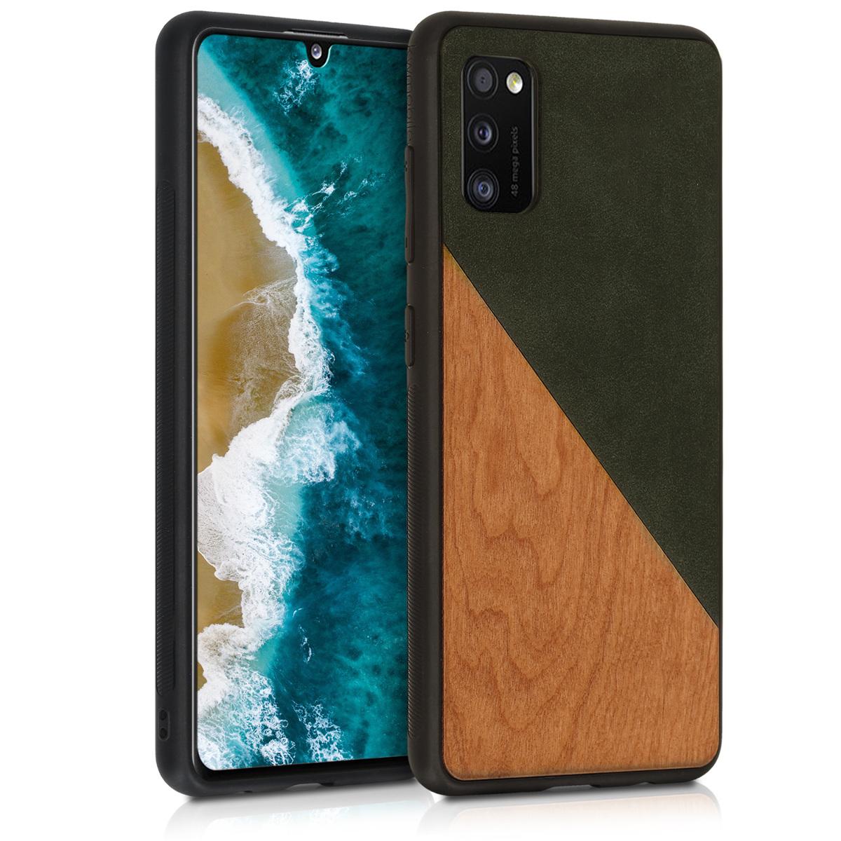 Dřevěné pouzdro pro Samsung A41 - Two-Tone Wood Dark Green / Brown