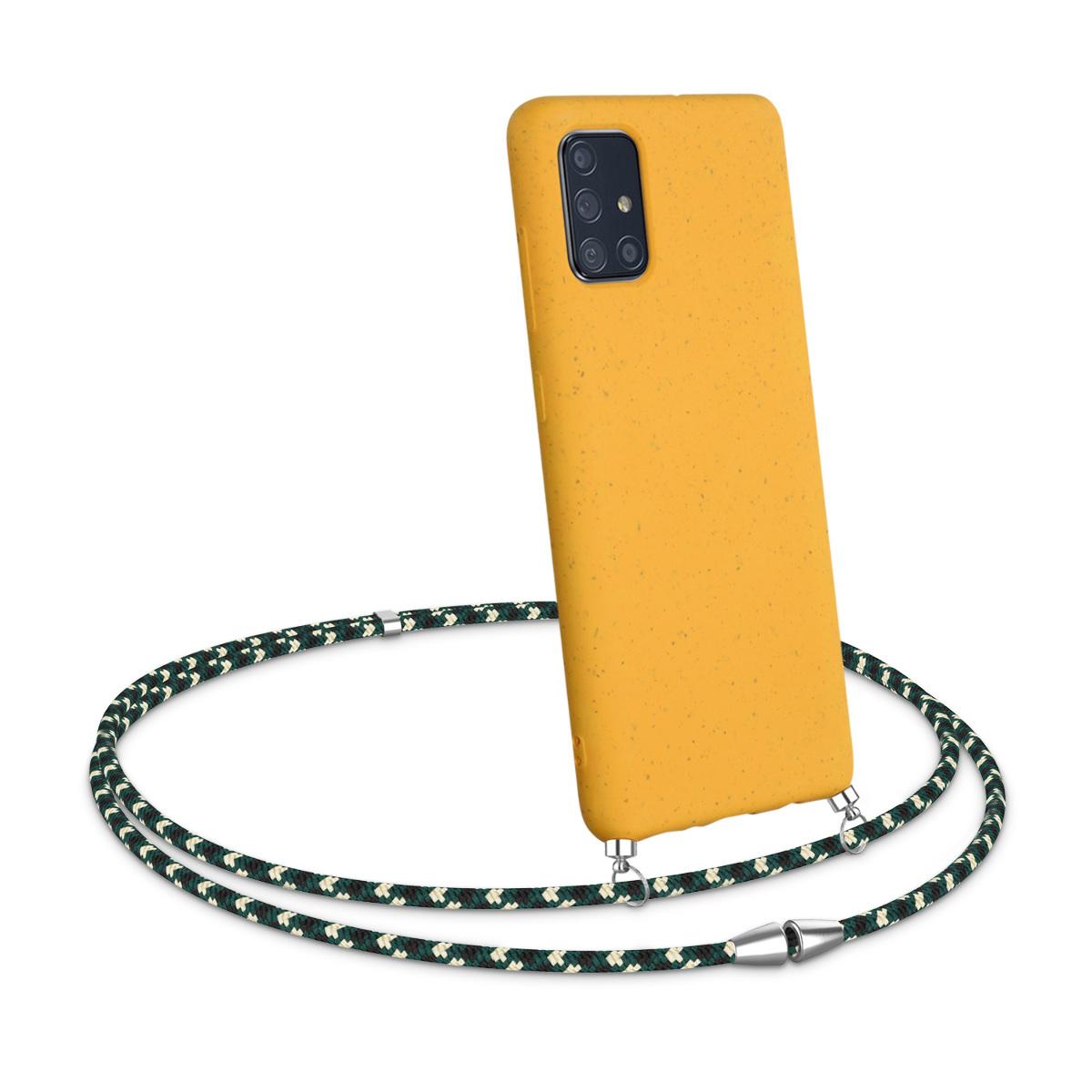 WheatStrawpouzdro pro Samsung A71 - medově žluté / zelené