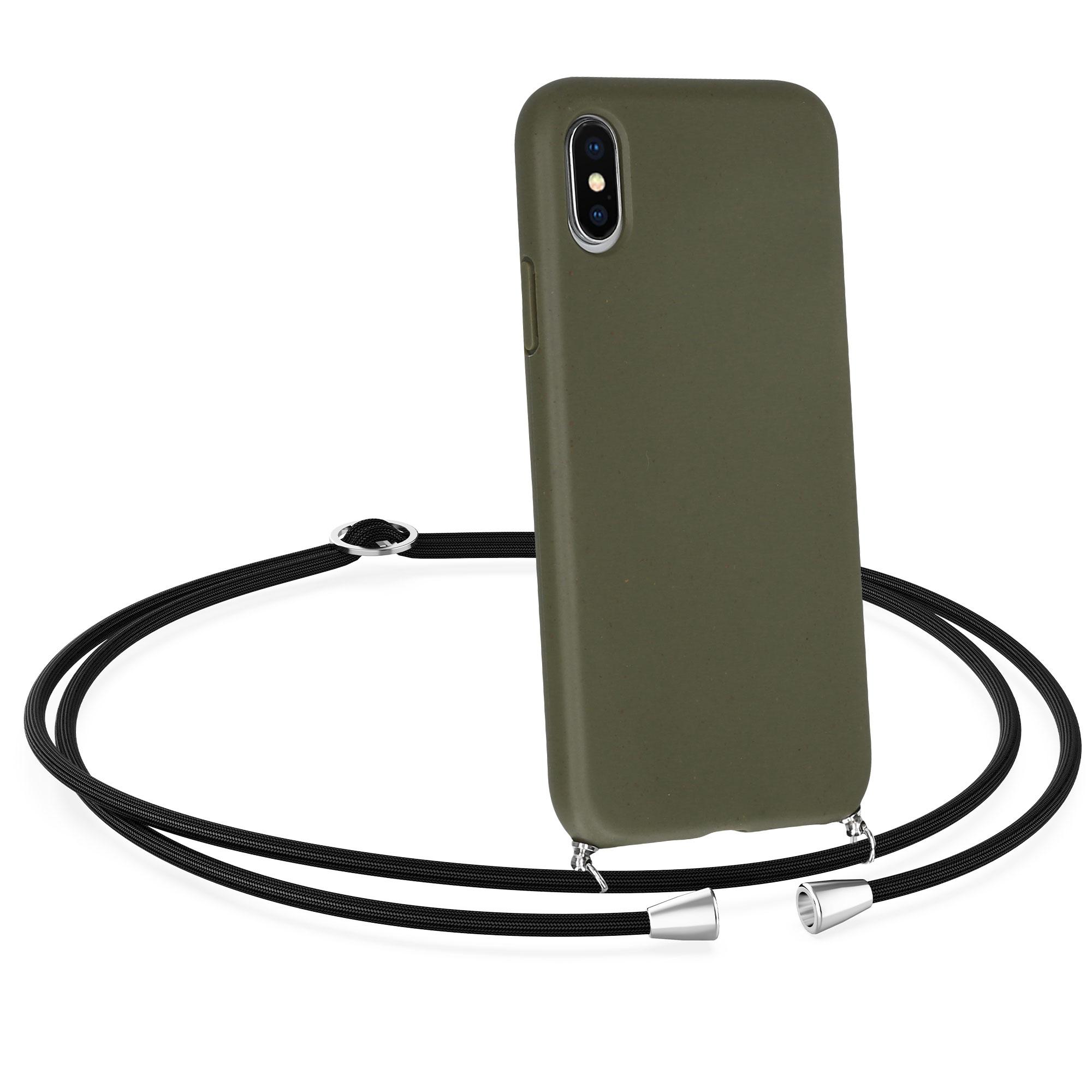 Kvalitní silikonové TPU pouzdro pro Apple iPhone X / XS - Olive Green | Black