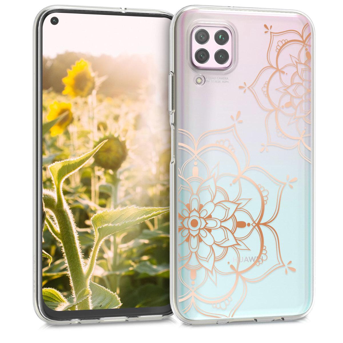 Silikonové pouzdro / obal pro Huawei P40 Lite s motivem zlatých květů