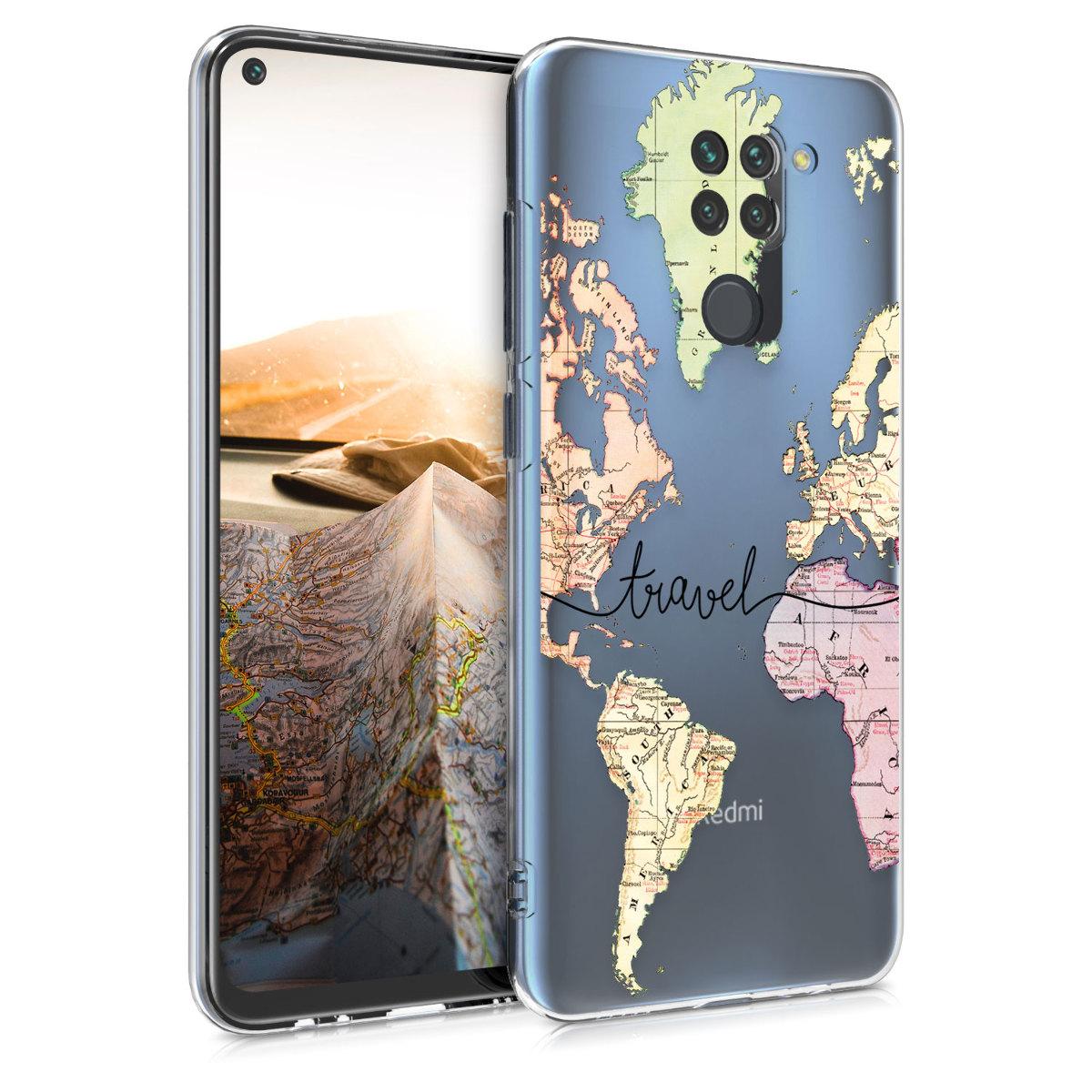 Kvalitní silikonové TPU pouzdro | obal pro Xiaomi Redmi Note 9 - Travel černý / Multicolor / transparentní