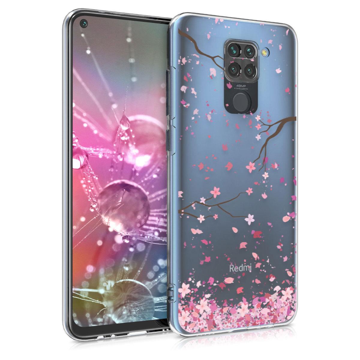 Kvalitní silikonové TPU pouzdro | obal pro Xiaomi Redmi Note 9 - Cherry Blossoms růžový / tmavě hnědá / transparentní