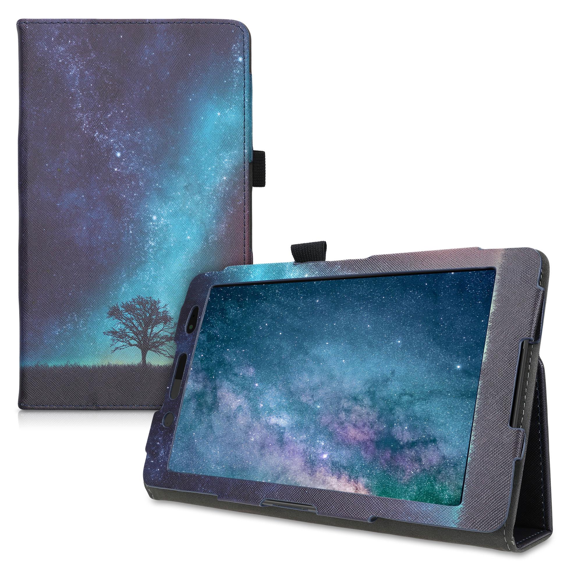 Kožené pouzdro | obal pro Sony Xperia Tablet Z3 Compact - vesmírné příroda modré / šedé/ černé