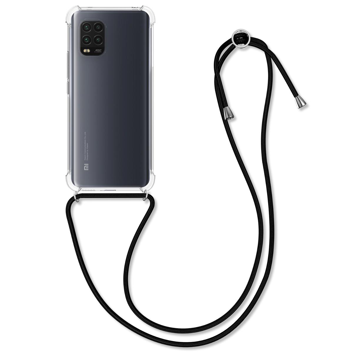 Průhledné pouzdro / obal s černou šňůrkou na krk pro Xiaomi Mi 10 Lite