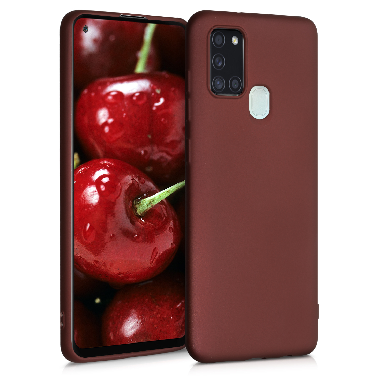Kvalitní silikonové TPU pouzdro pro Samsung A21s - metalické Ruby červené
