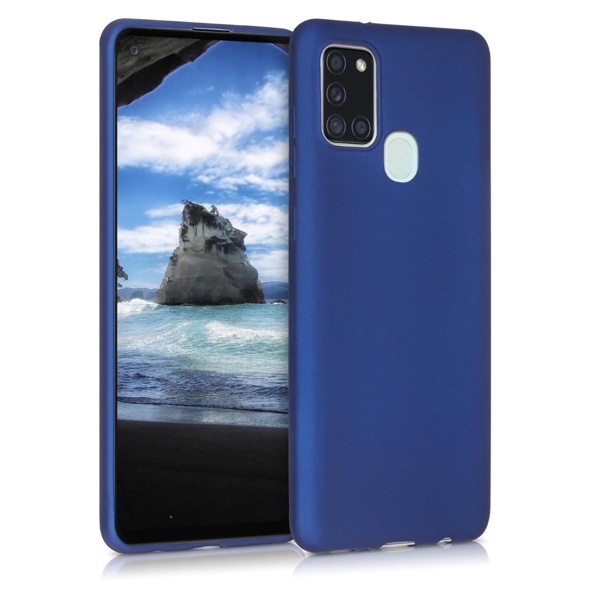 Kvalitní silikonové TPU pouzdro pro Samsung A21s - modrá metalíza