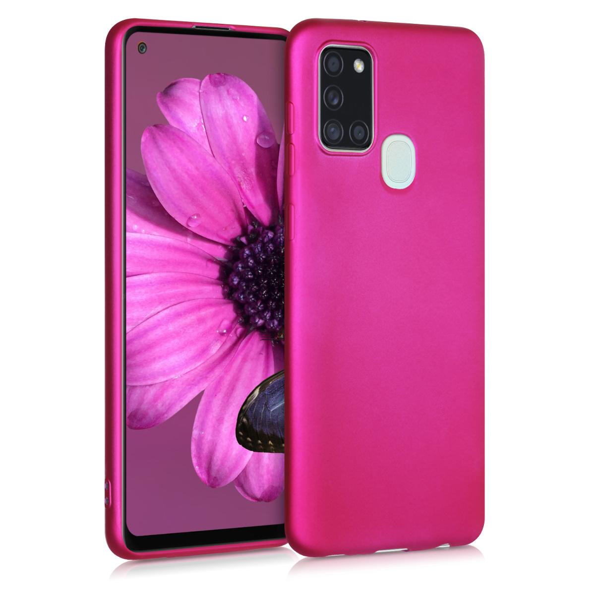Kvalitní silikonové TPU pouzdro pro Samsung A21s - Metallic Pink