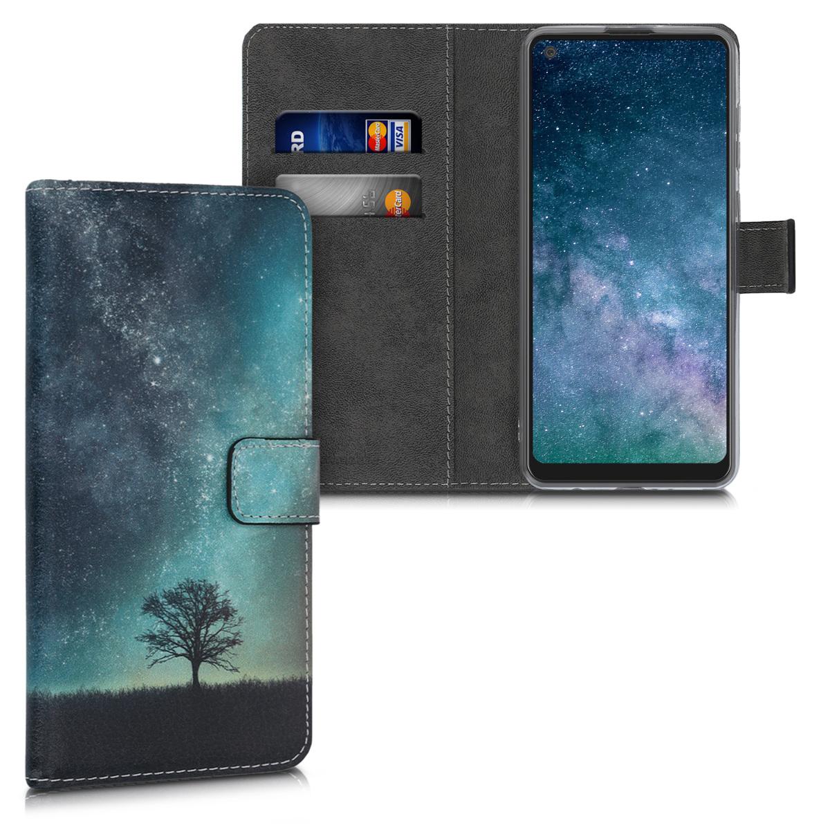 Kožené pouzdro pro Samsung A21s - kosmické přírodní modré / šedé / černé