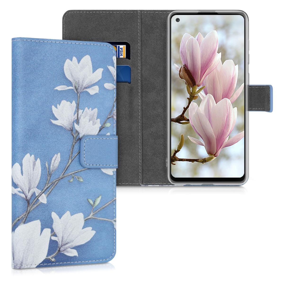 Kožené pouzdro pro Samsung A21s - Magnolie Taupe / bílá / modré šedé