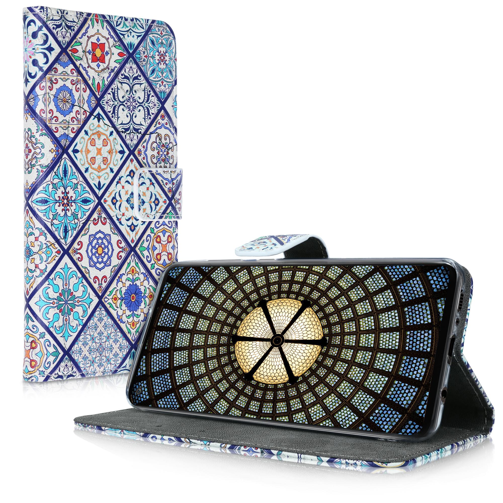 Kožené pouzdro pro Samsung A21s - Moroccan Vibes v vícebarevná modré / oranžová / bílá