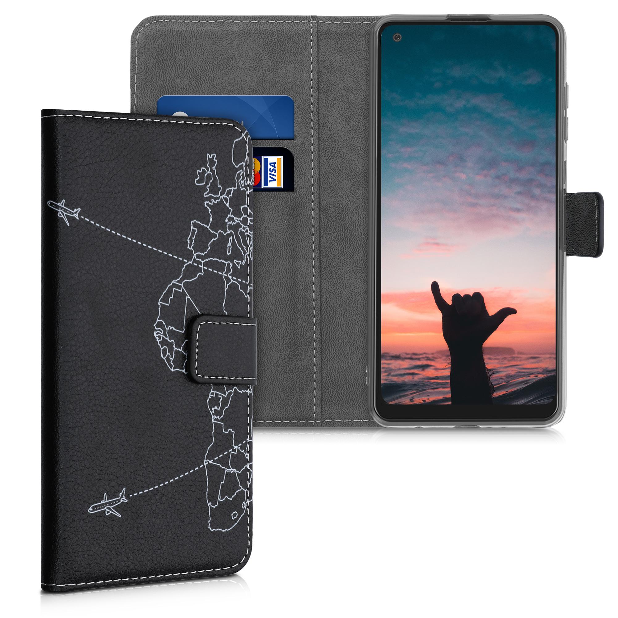 Kožené pouzdro pro Samsung A21s - Travel & Prozkoumat bílá / černá