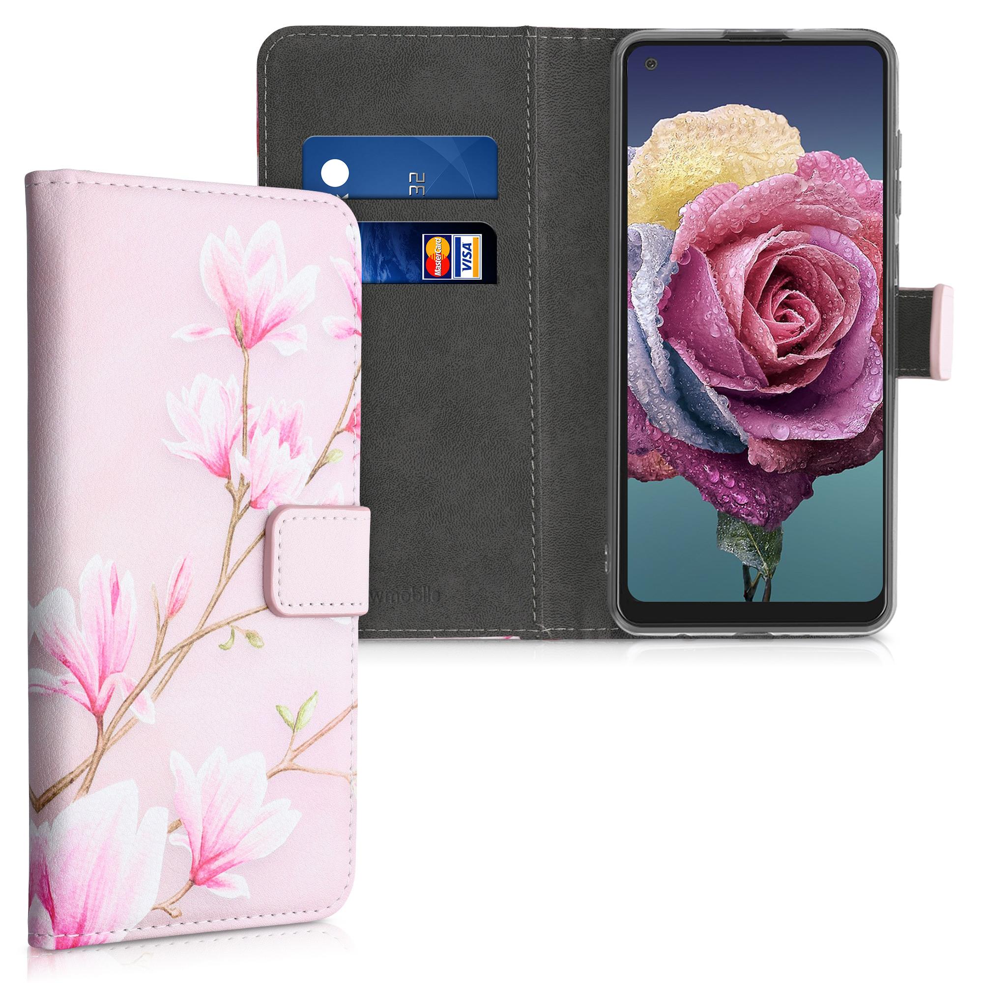 Kožené pouzdro pro Samsung A21s - Magnolie Pink / White / Pink Dusty