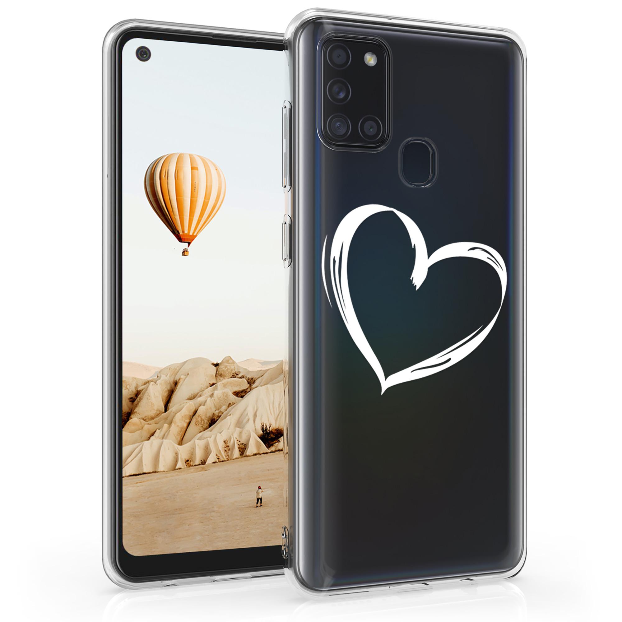 Kvalitní silikonové TPU pouzdro pro Samsung A21s - Brushed Heart White / Transparent