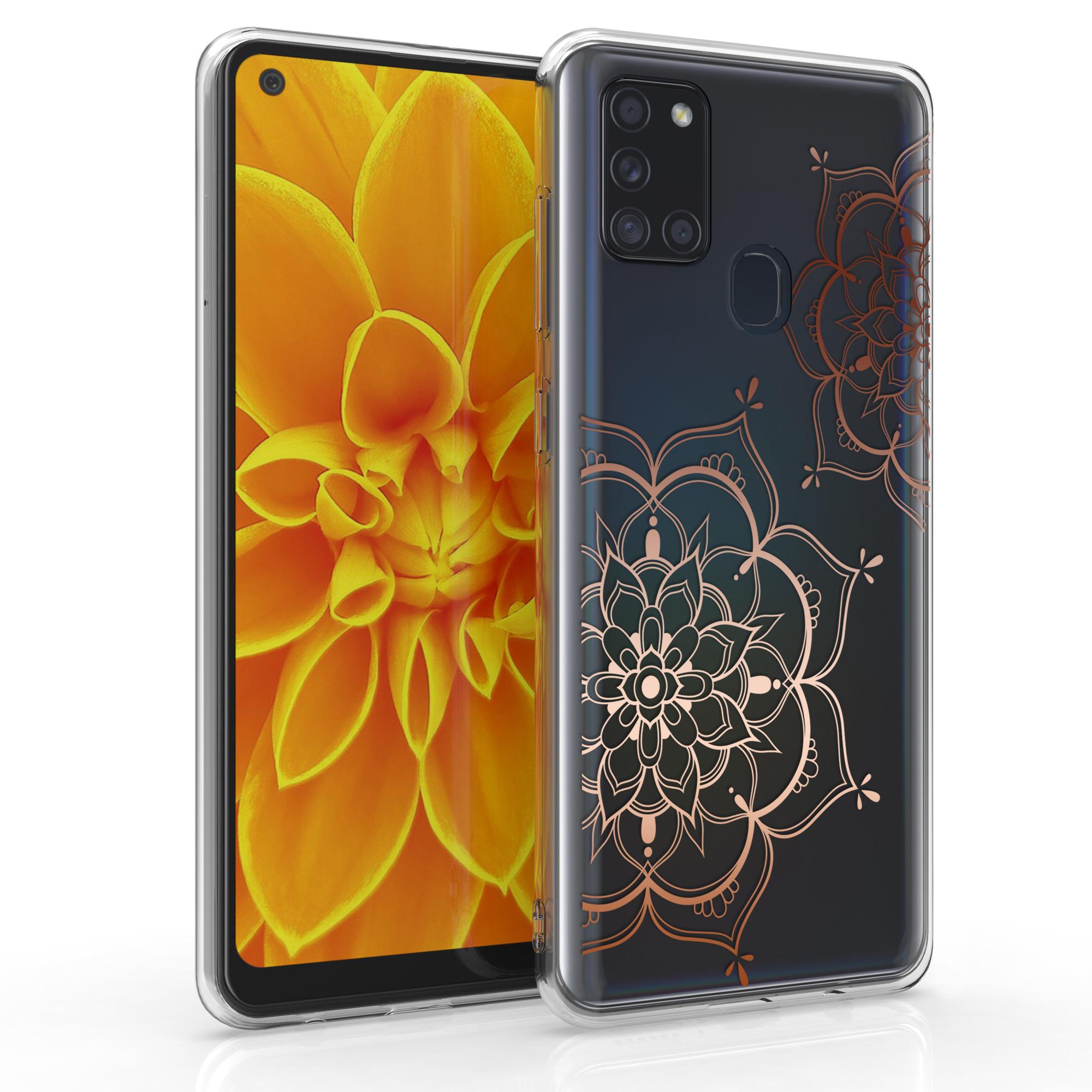 Kvalitní silikonové TPU pouzdro pro Samsung A21s - květiny Twins starorůžové rosegold / transparentní