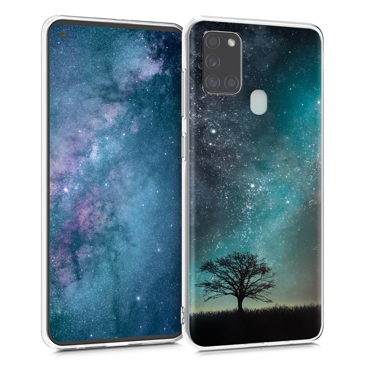 Kvalitní silikonové TPU pouzdro pro Samsung A21s - Cosmic Nature modrá / šedá / černá