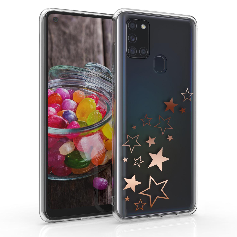 Kvalitní silikonové TPU pouzdro pro Samsung A21s - Hvězda Mix Rose Gold / Transparent