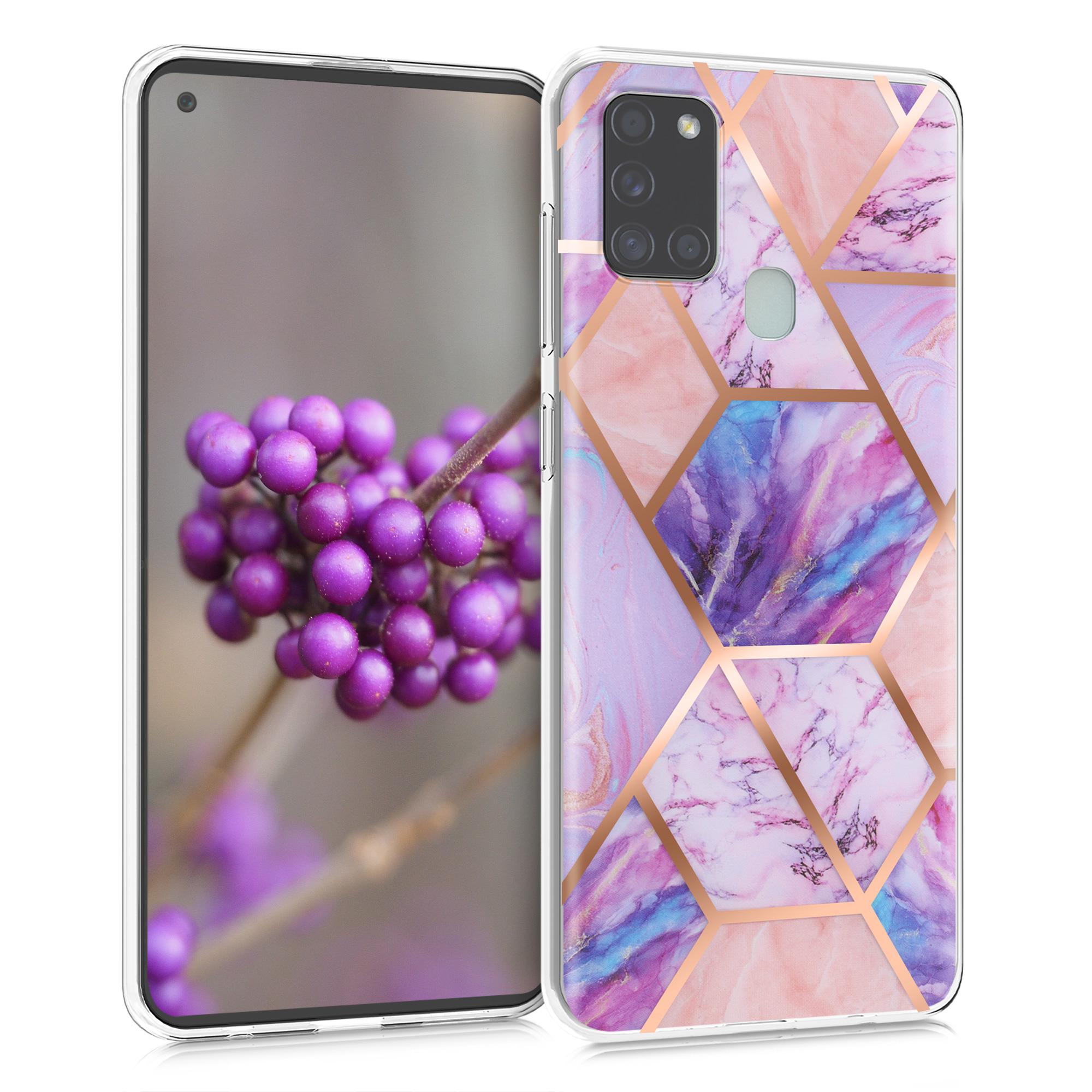 Kvalitní silikonové TPU pouzdro pro Samsung A21s - Mramorovaný Geometrics Light Pink / Rose Gold