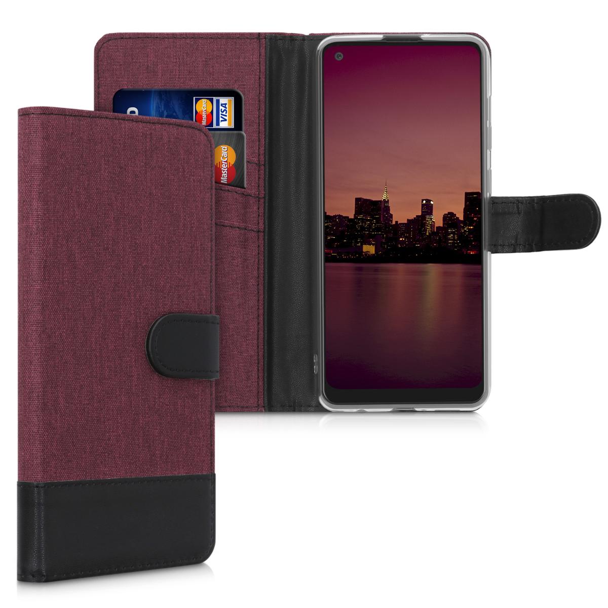 Fabricpouzdro pro Samsung A21s - tmavě červené / černé